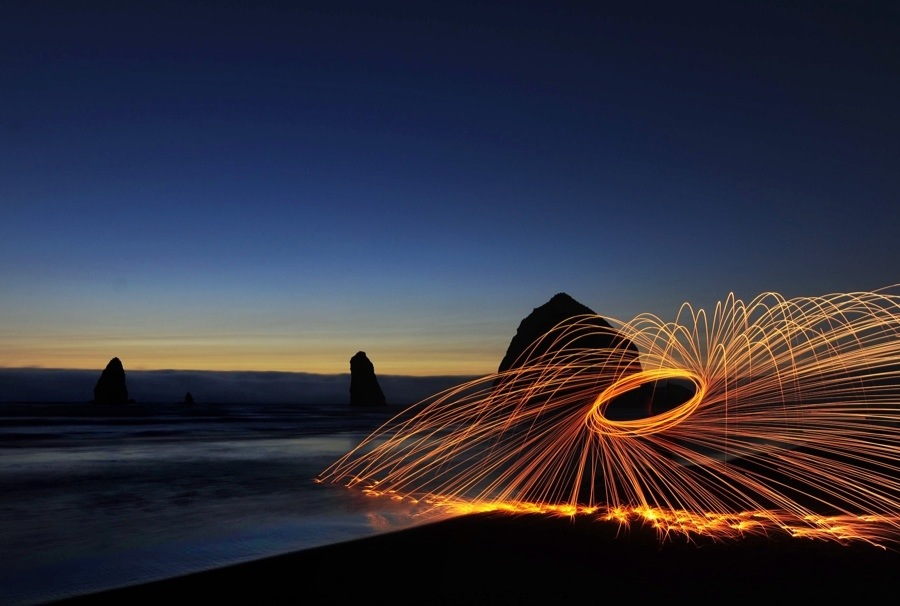 Flying Sparks On Cannon Beach Dave Wilson Photography